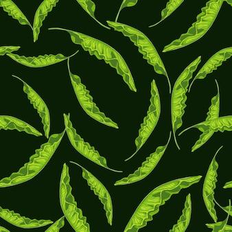 Hellgrüne gelegentliche palmenlaubverzierungssilhouetten. schwarzer hintergrund. hawaii-blumen-dschungel-druck. flacher vektordruck für textilien, stoffe, geschenkpapier, tapeten. endlose abbildung.