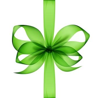Hellgrüne transparente schleife und band draufsicht nahaufnahme isoliert.