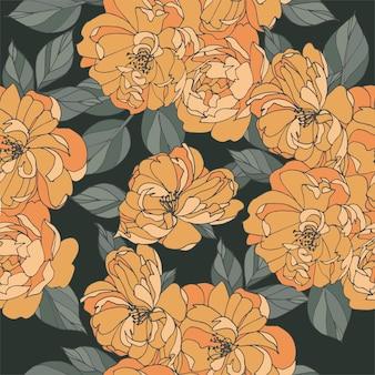 Hellorange blüten mit blättern, die ein nahtloses muster auf dunklem hintergrund zeichnen