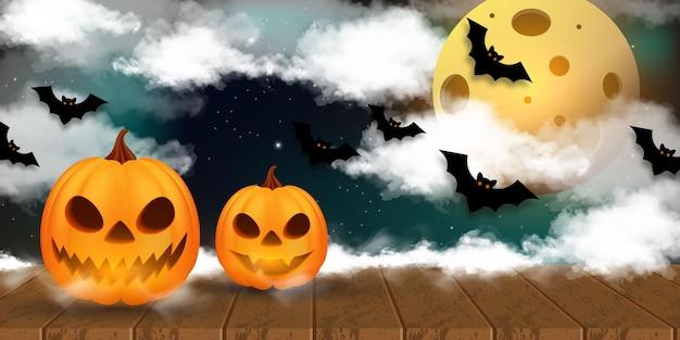 Helloween-kürbisse auf holz. helloween-hintergrund nachts mit mond.