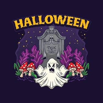 Helloween night party trick oder behandlung ghost vector design