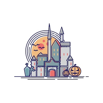 Helloween schloss in der linie illustration