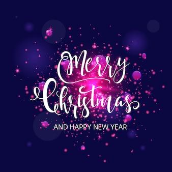 Hellrosa abstrakter weihnachtshintergrund mit weißen funkelnden schneeflocken. winterurlaub-abbildung mit schriftzug. vorlage für dekoration, grußkarten, einladungen.