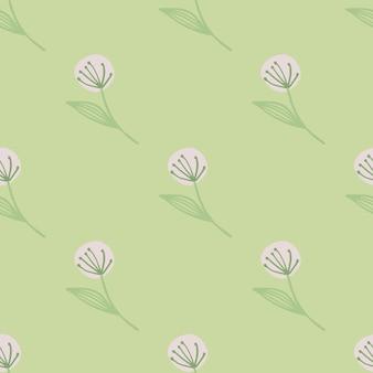 Hellrosa löwenzahn auf nahtlosem botanischem muster. hellgrüner hintergrund.