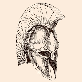 Helm des antiken griechischen krieger-hopliten mit einer nationalen mäanderverzierung. einfache handskizze lokalisiert auf beigem hintergrund.