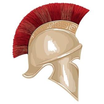 Helm des antiken griechischen krieger-hopliten mit einer nationalen mäanderverzierung. einfache handskizze lokalisiert auf weißem hintergrund.