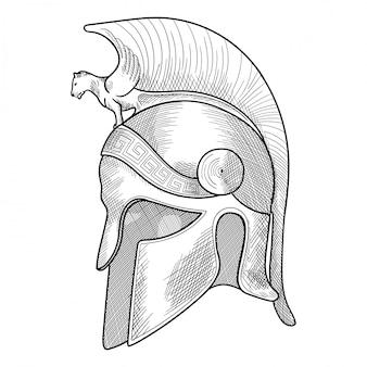 Helm des antiken griechischen krieger-hopliten mit einer nationalen mäanderverzierung.