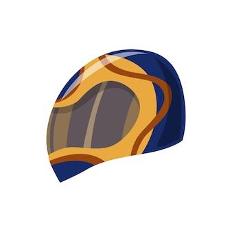 Helm für roller-, auto- oder motorradsport. kopfschutz für die verkehrssicherheit. cartoon flache sporthelm-symbol.