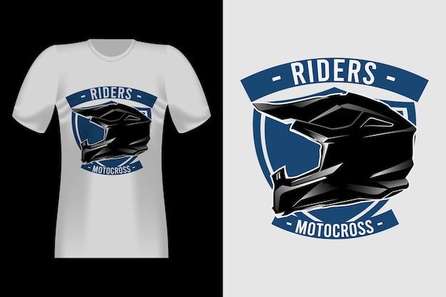 Helm motocross handgezeichnetes vintage t-shirt design
