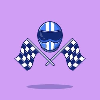Helm und rennflaggen-symbol-illustration. sport racing icon konzept isoliert. flacher cartoon-stil