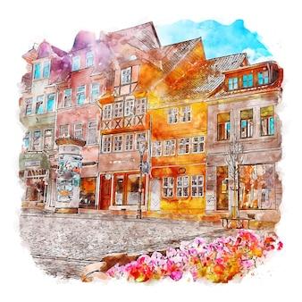 Helmstedt deutschland aquarellskizze handgezeichnete illustration