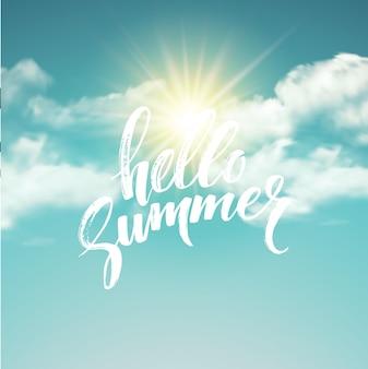 Heloo summer pinsel schriftzug auf dem wolkenhintergrund.