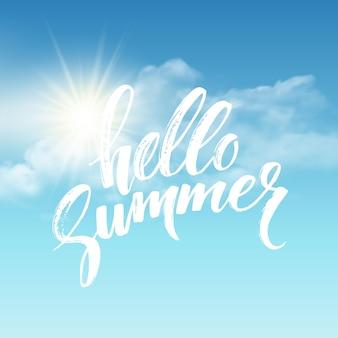 Heloo summer pinsel schriftzug auf dem wolkenhintergrund
