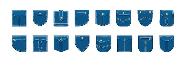 Hemd mit aufgesetzten taschen in verschiedenen formen jeanskleidung