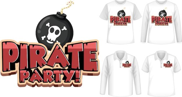 Hemden eingestellt mit piraten-party-cartoon