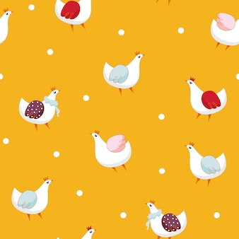 Hen seamless pattern