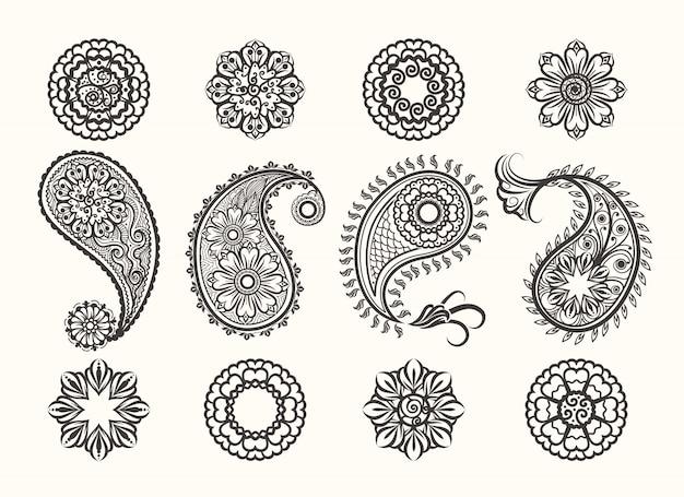 Hennastrauch-tatoo-paisley-ikonen eingestellt