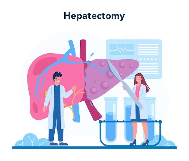 Hepatologen-konzept. arzt machen leberuntersuchung, hepatektomie. idee der medizinischen behandlung, embolisationstherapie, cholescintigraphie. isolierte vektorillustration