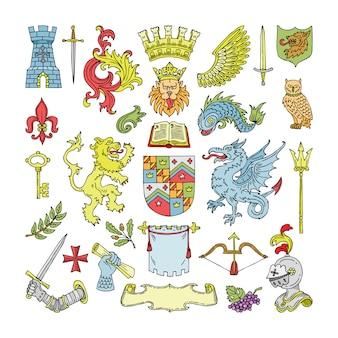Herald heraldischer schild und heraldik-weinleseemblem des kronenlöwen- oder ritterhelmillustrationssatzes der königlichen mittelalterlichen abzeichen-königinnenkrone auf weißem hintergrund