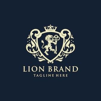 Heraldik lion brand logo design