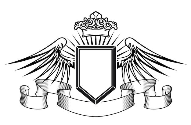 Heraldikschild mit engelsflügeln, bändern und krone