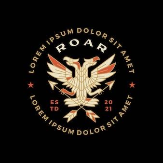 Heraldische doppelköpfige adler-abzeichen-t-shirt-t-stück merch-logo-vektor-symbol-illustration