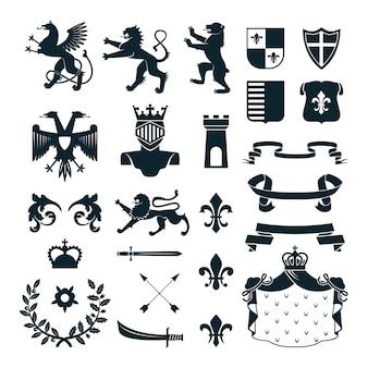 Heraldische königliche symbolembleme entwerfen und familienwappenelementsammlungschwarzzusammenfassung lokalisierte vektorillustration