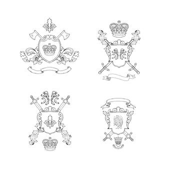 Heraldische ritterwaffen. hand gezeichnete heraldikillustration