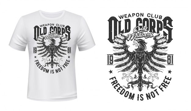Heraldischer adler-t-shirt-druck, militärklub