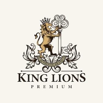 Heraldischer löwe und schlüssellogo