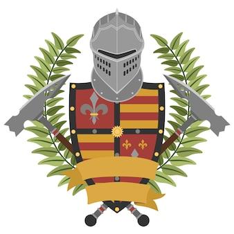 Heraldischer ritter im flachen stil