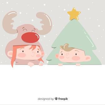 Herauf freunde weihnachtshintergrund gekleidet