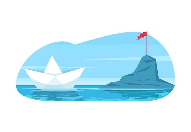 Herausforderung metapher halb flach vektor-illustration. geschäftsziel und karriereziel. zukünftige entdeckung. papierspielzeugboot navigieren, um den berg zu erreichen. 2d-cartoon-objekte für die kommerzielle nutzung