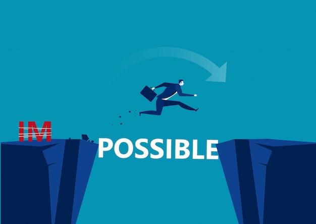 Herausforderung zur überwindung geschäftlicher hindernisse möglich. geschäftsmann, der das risiko eingeht, über abstand zu springen,