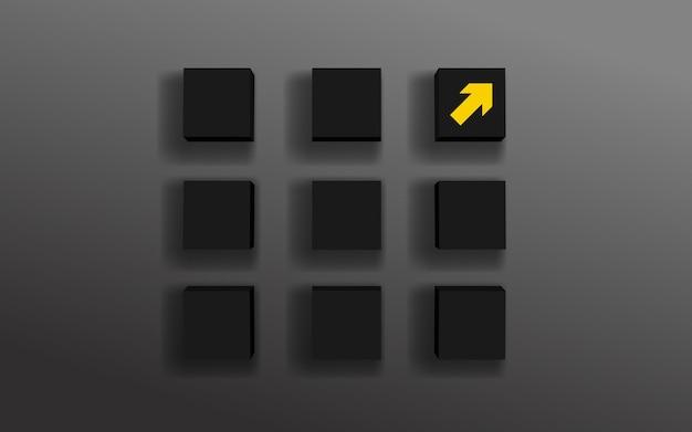 Herausragend der gelbe pfeil auf der box einzigartig und aus der masse herausstechend