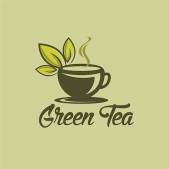 Herbal green tea cup logo