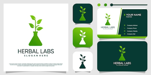 Herbal labs logo mit modernem konzept premium-vektor