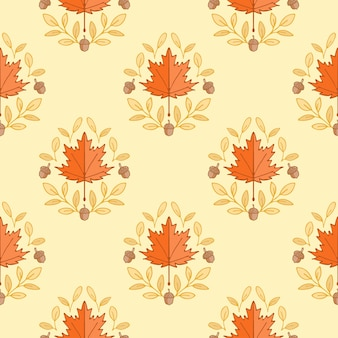 Herbst ahornblätter und eichel motiv nahtlose damastmuster hintergrund