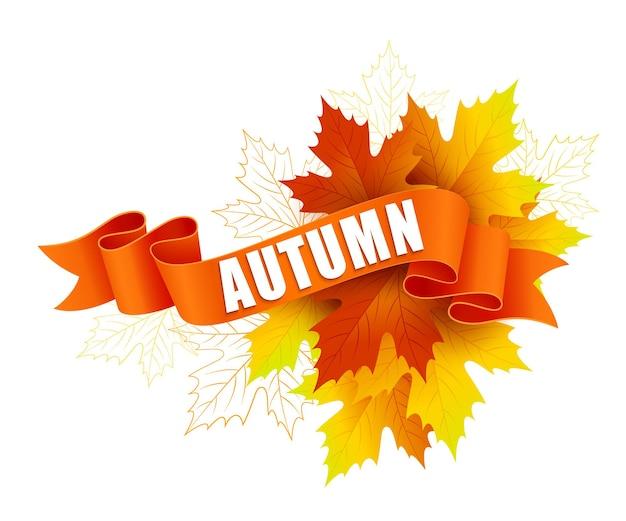 Herbst am band mit herbstlaub