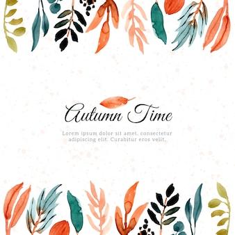 Herbst aquarell blätter rahmen