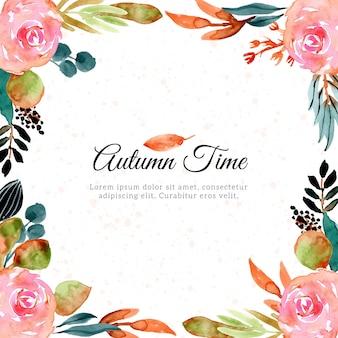 Herbst aquarell blumenrahmen