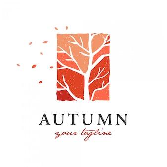 Herbst auf einem trockenen baum logo premium