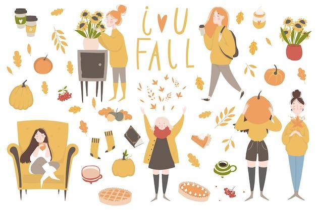 Herbst-aufkleber-kollektion set mit niedlichen herbst-cartoon-illustrationen
