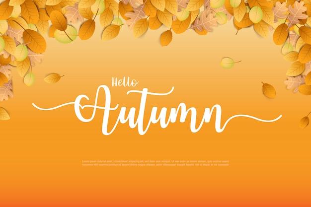 Herbst backgorund mit trockenem blatt, das auf hintergrund fällt