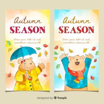 Herbst banner vorlage aquarell design
