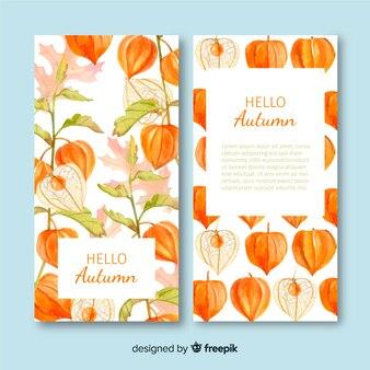 Herbst banner vorlage aquarell stil