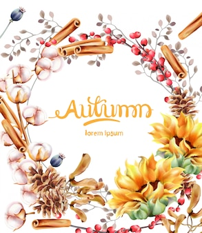 Herbst blüht blumenstraußkarte