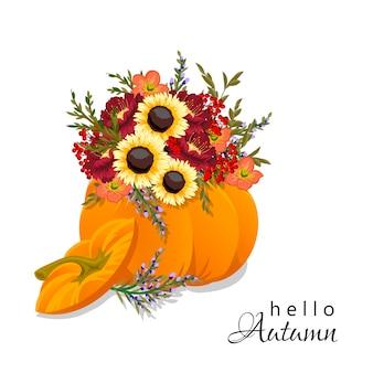 Herbst blumenkürbis zusammensetzung.