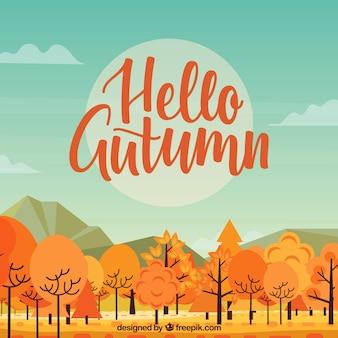 Herbst-design mit bäumen