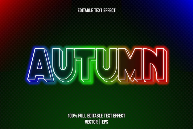 Herbst editierbarer texteffekt 3-dimensionaler emboss-neon-stil